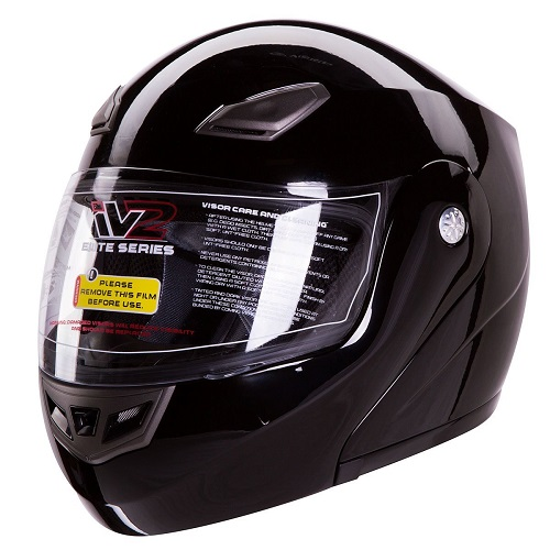 Modular Flip up Motorcycle Helmet Gloss Black DOT
